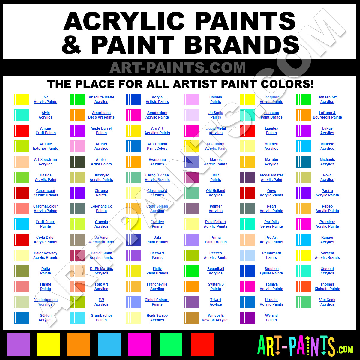 Acrylic Art Paints Paint Color Brands