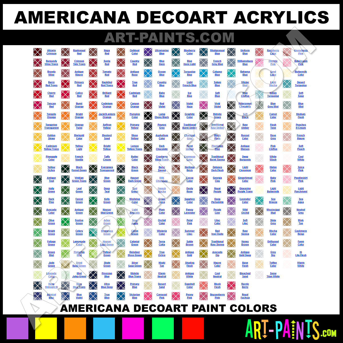 Folk art acrylic paint color chart - Americana Acrylics Americana Decoart Paints