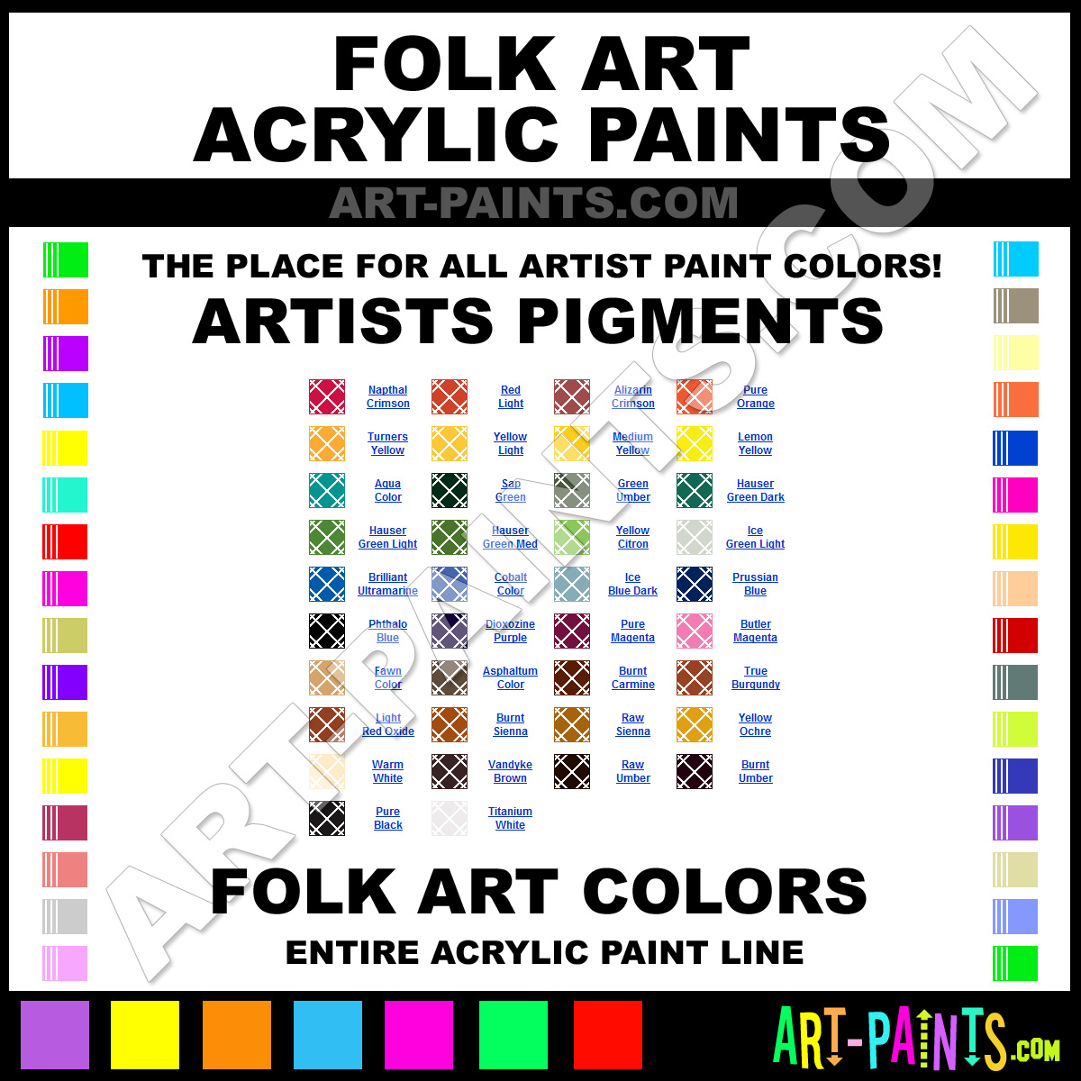Folk art acrylic paint color chart - Folk Art Artists Pigments Acrylics Folk Art Artists Pigments Paints