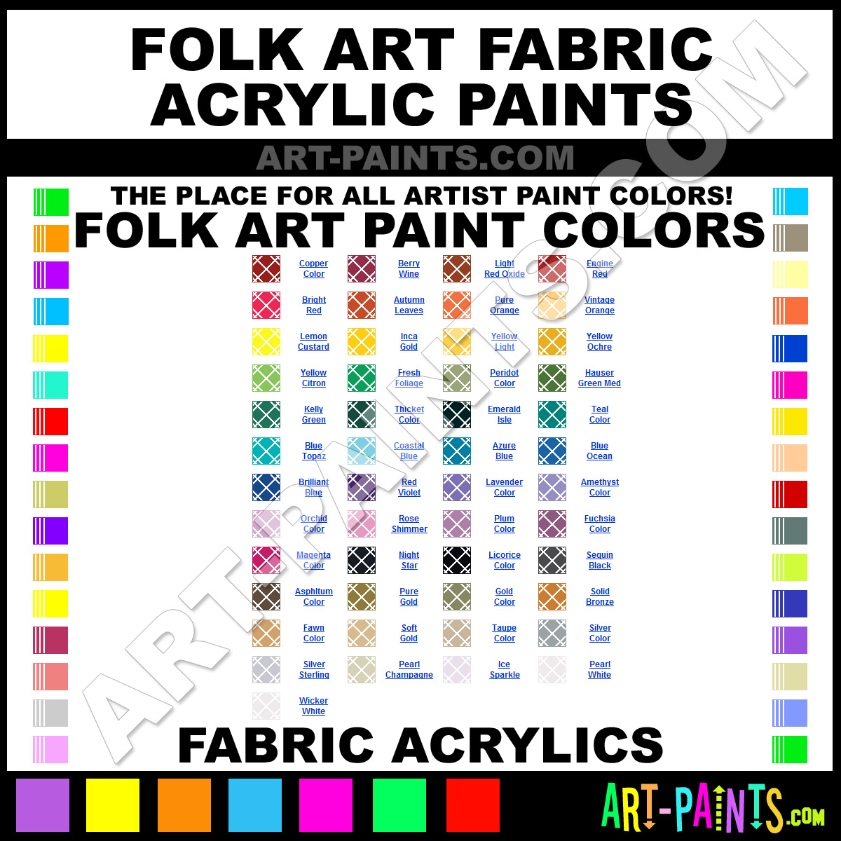 Folk art acrylic paint color chart - Folk Art Fabric Acrylics Folk Art Fabric Paints
