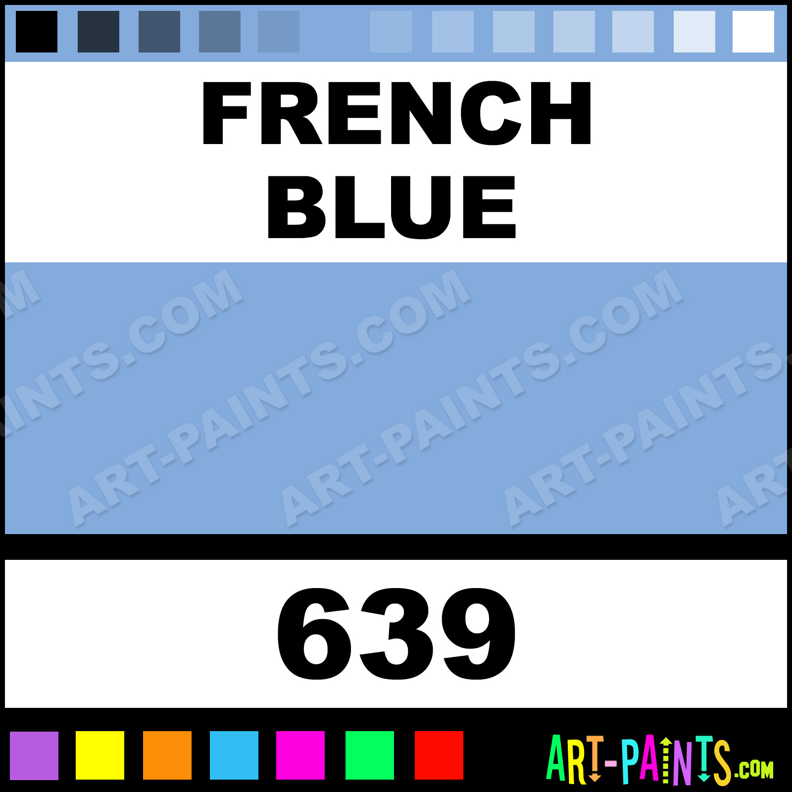 Folk art acrylic paint color chart - French Blue French Blue Paint