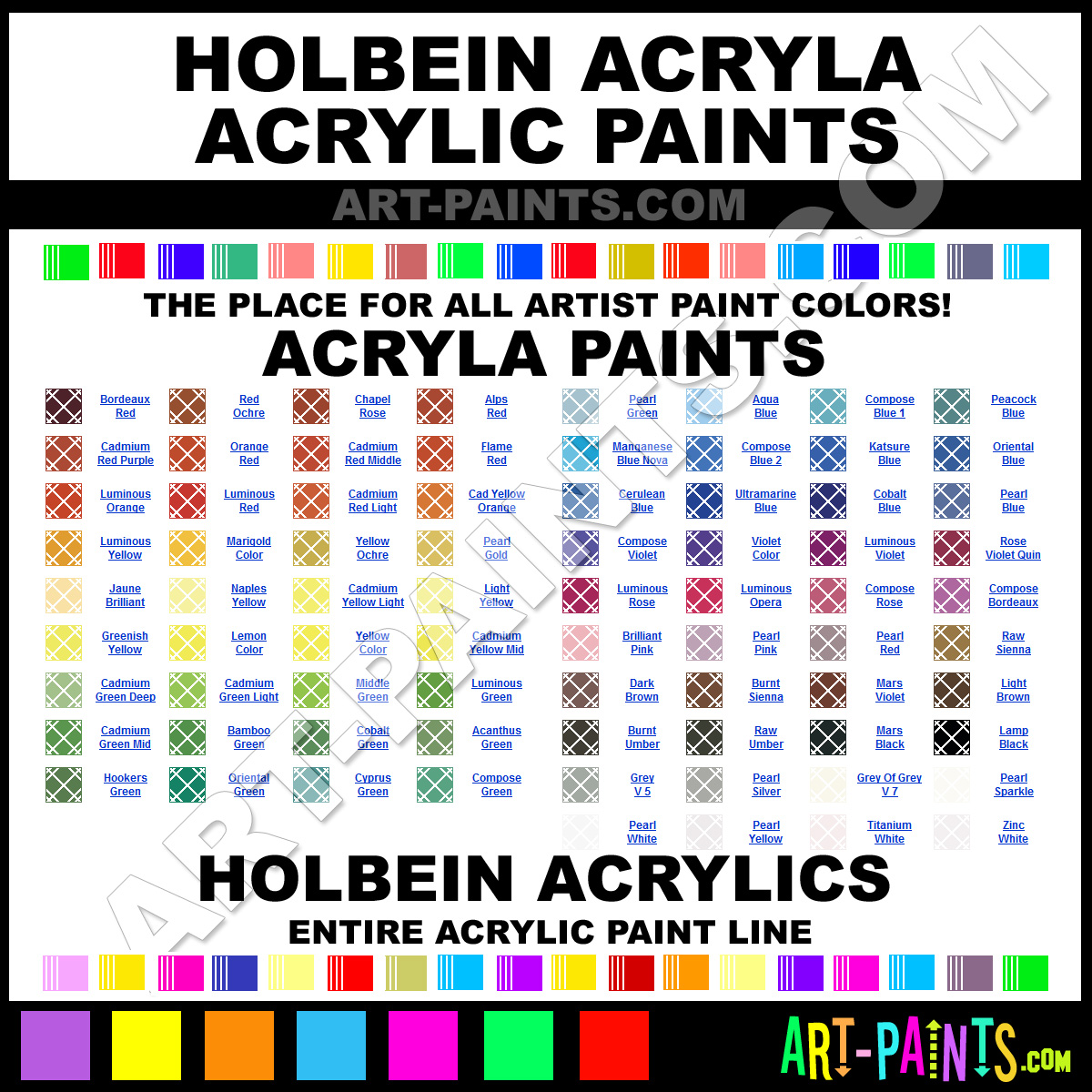 Holbein acryla acrylic paint colors holbein acryla paint for Oil paint colors names