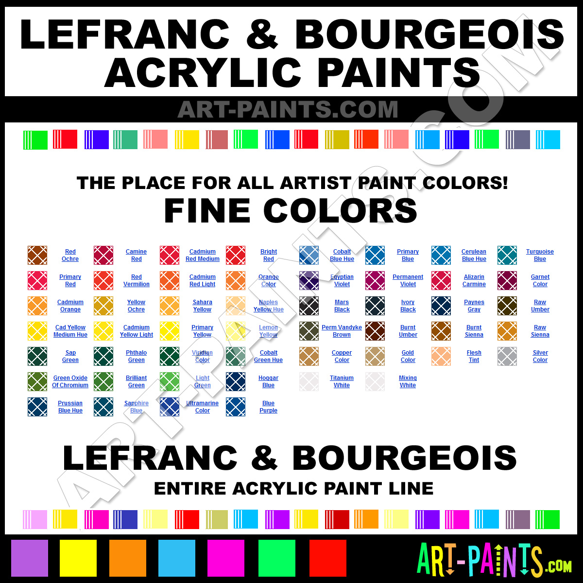 Lefranc And Bourgeois Fine Acrylic Paint Colors Lefranc