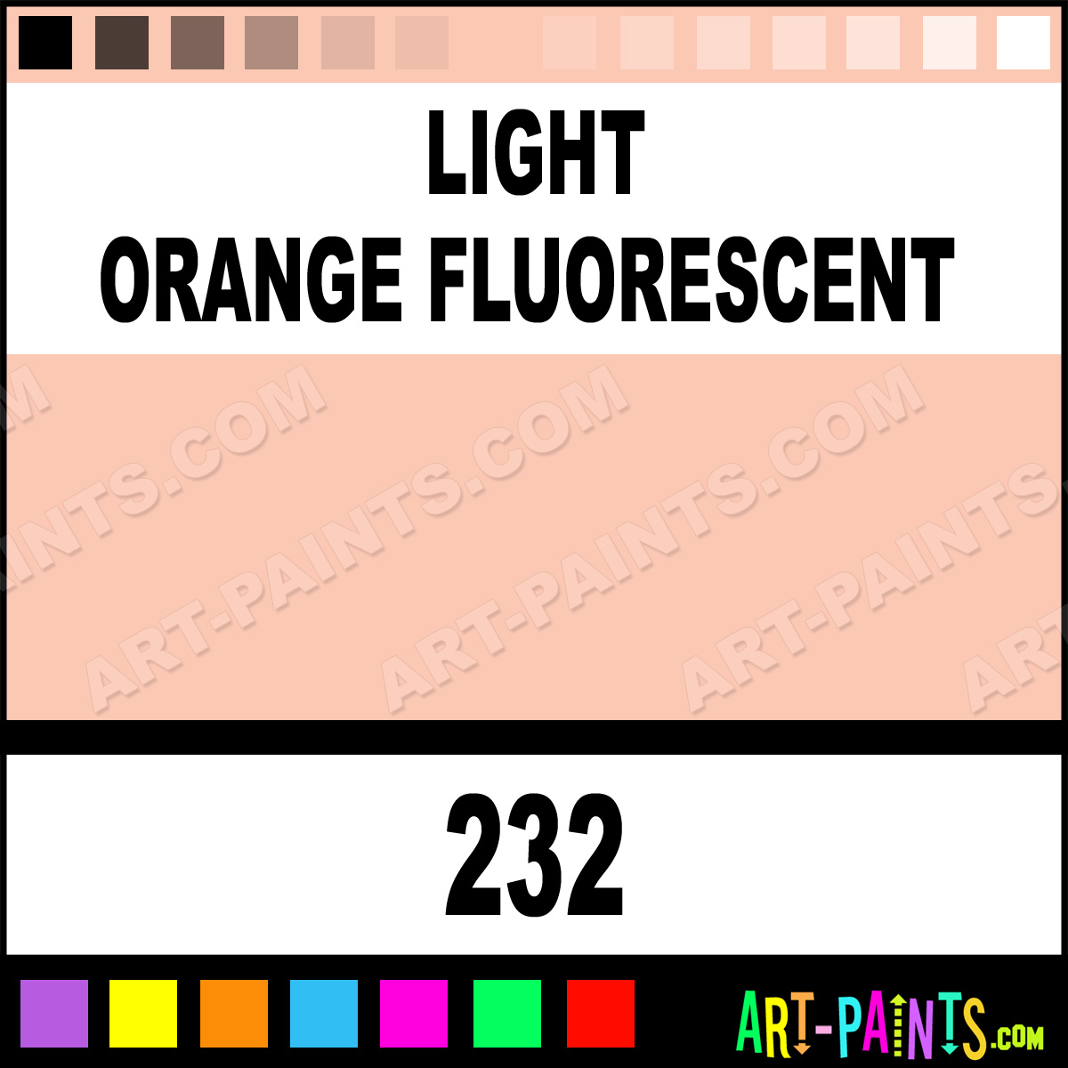 Light Orange Fluorescent Flashe Acrylic Paints 232