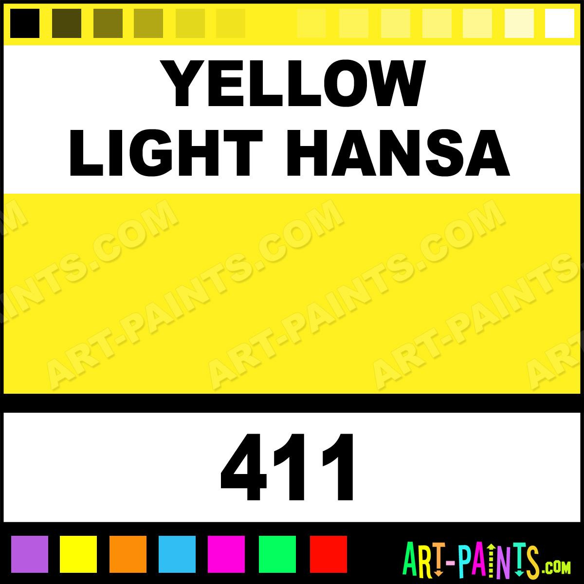 Yellow Light Hansa Soft Body Acrylic Paints 411 Yellow