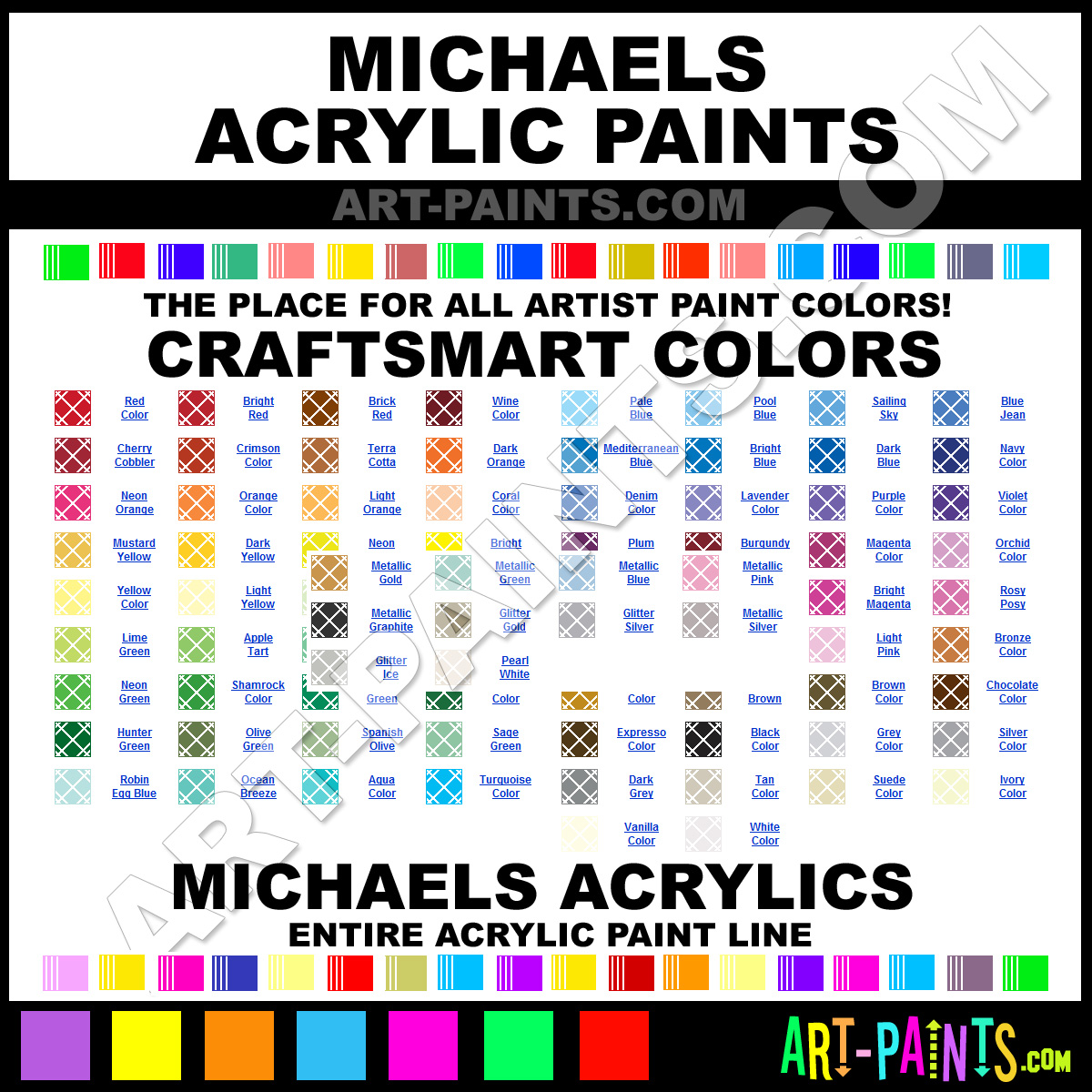 Craft Smart Acrylic Paint Color Chart