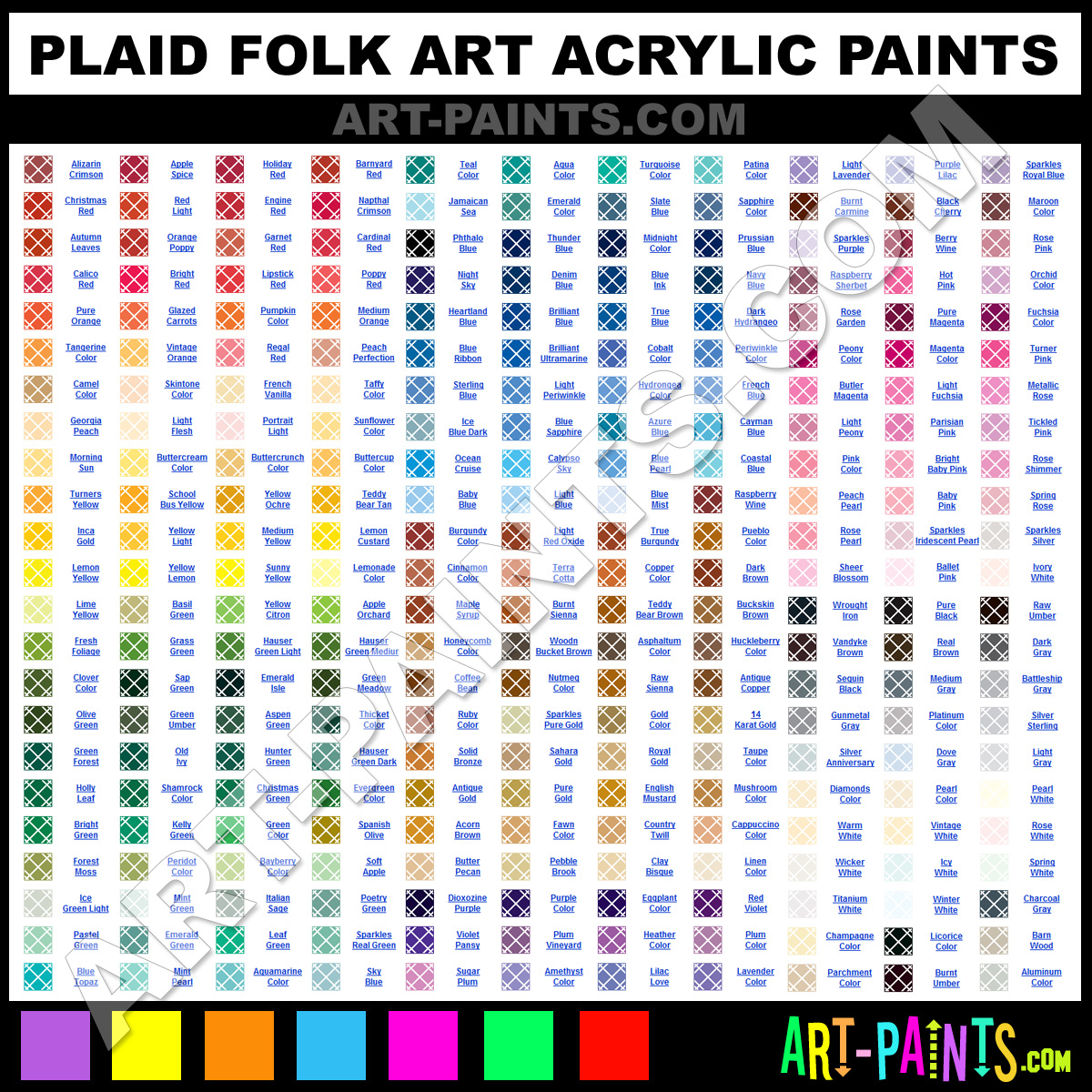 Folk art acrylic paint color chart - Plaid Acrylics Plaid Folk Art Paints