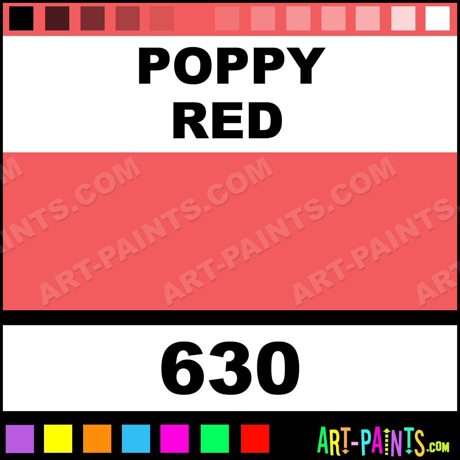 Folk art color chart acrylic paint - Poppy Red Poppy Red Paint