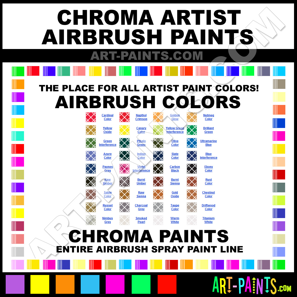 Chroma artist airbrush spray paint colors chroma artist for Chroma mural paint markers
