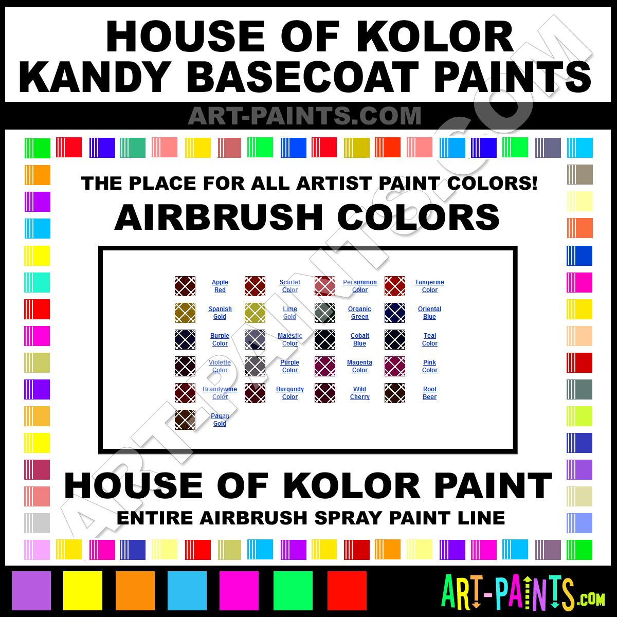 House Of Kolor Kandy Basecoats Airbrush Spray Paint Colors