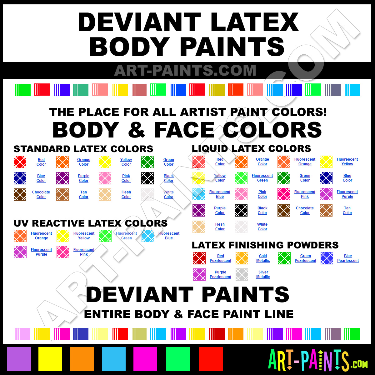 Paint Colors And Brands: Deviant Body And Face Stage Makeup And Theater Paint