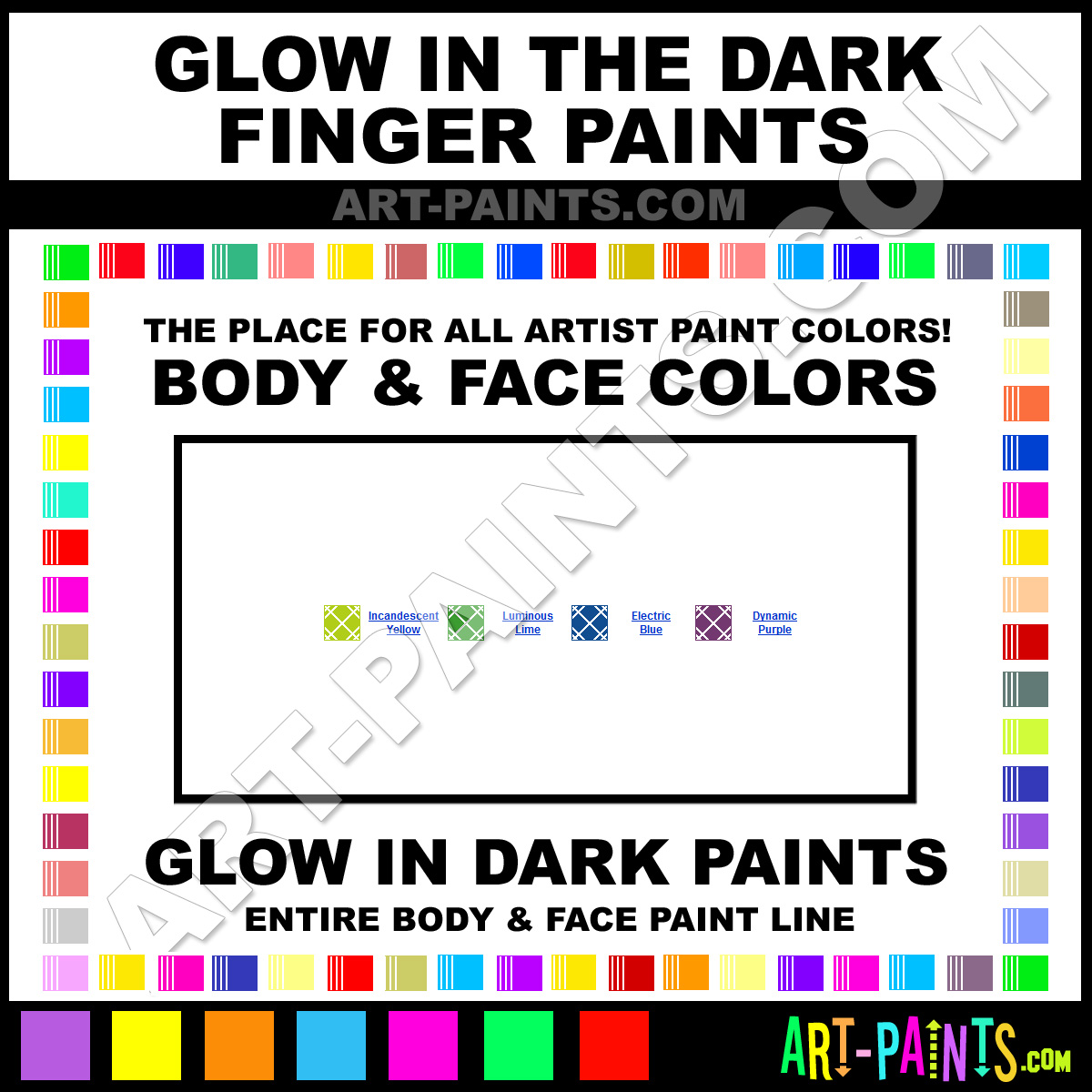 glow in the dark bodys glow in the dark finger paints paints. Black Bedroom Furniture Sets. Home Design Ideas