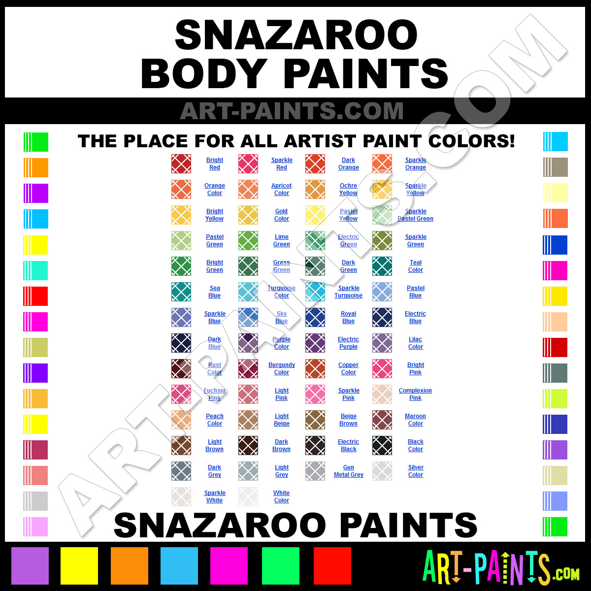 Paint Colors And Brands: Snazaroo Body And Face Stage Makeup And Theater Paint