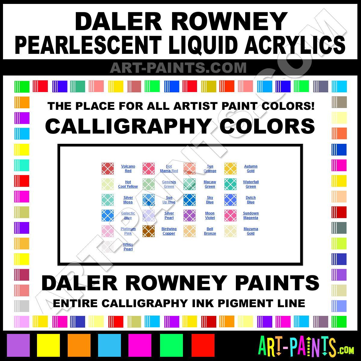 Daler Rowney Pearlescent Liquid Acrylic Calligraphy Ink