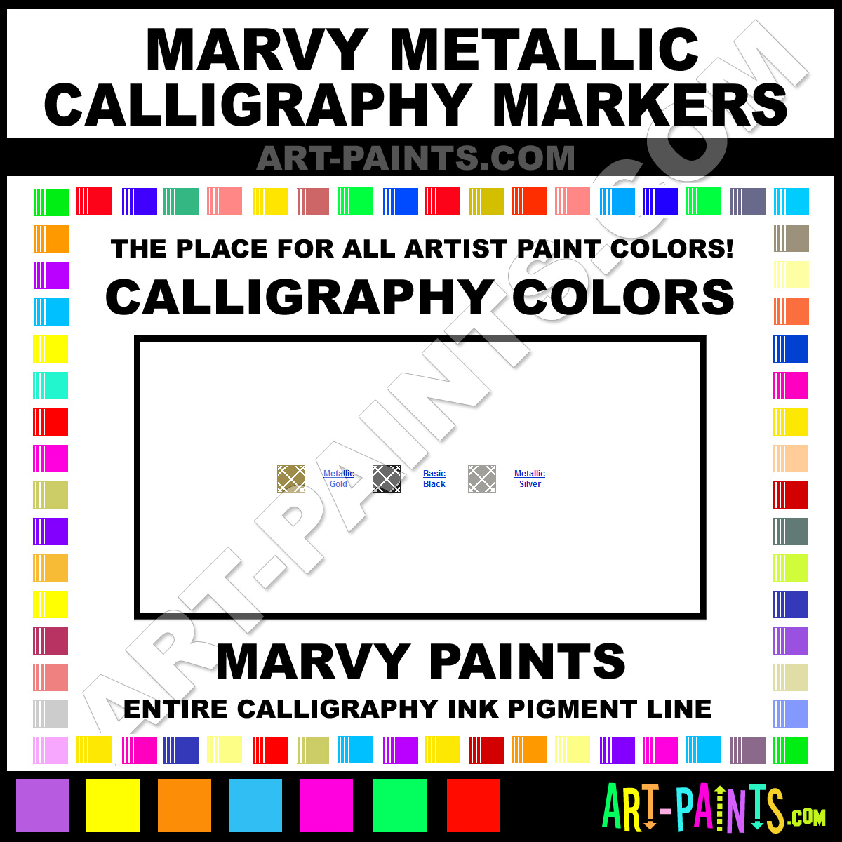 Marvy Metallic Markers Calligraphy Ink Pigment Colors