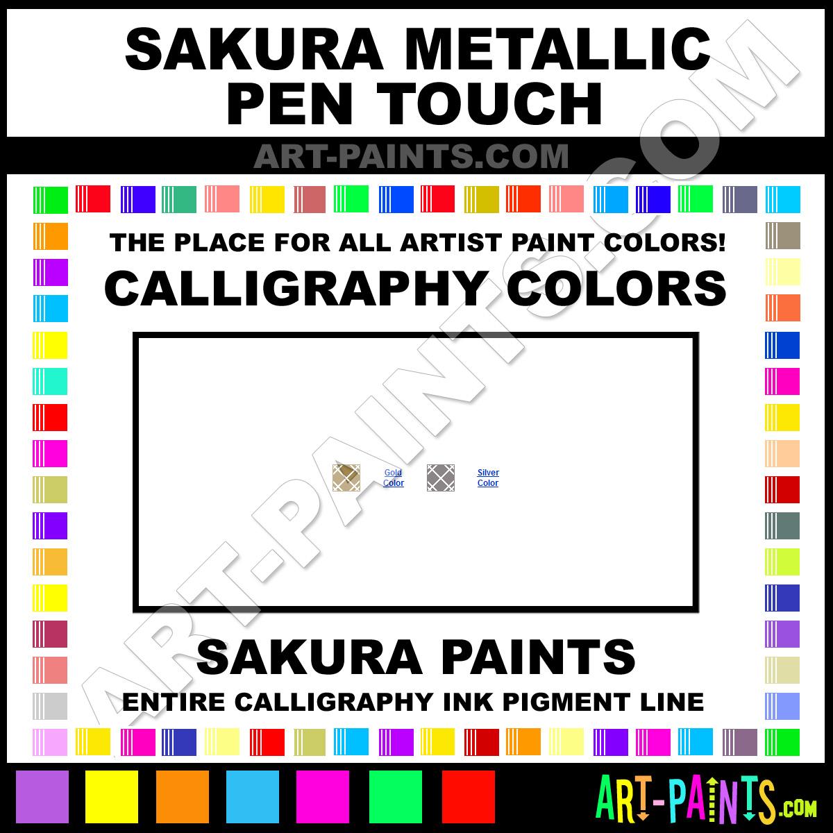 Sakura Metallic Pen Touch Calligraphy Ink Pigment Colors