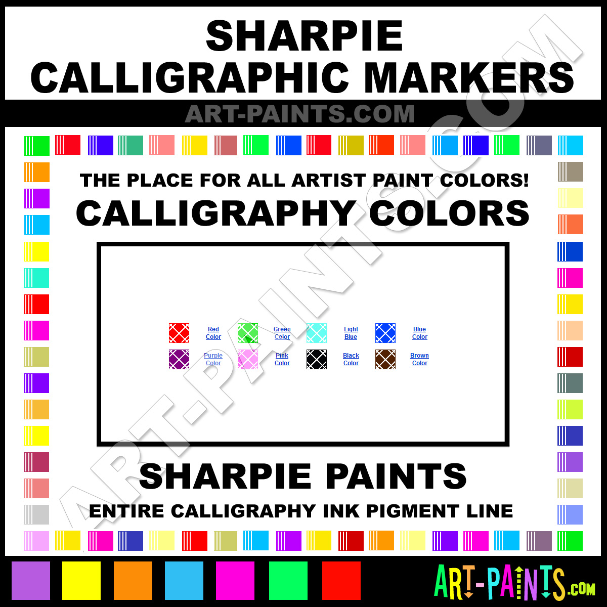 Sharpie Calligraphic Marker Calligraphy Ink Paint Colors