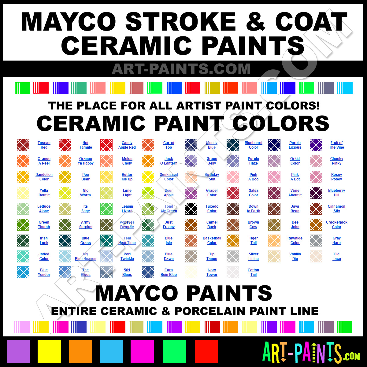 Mayco Stroke And Coat Ceramic Porcelain Paint Colors
