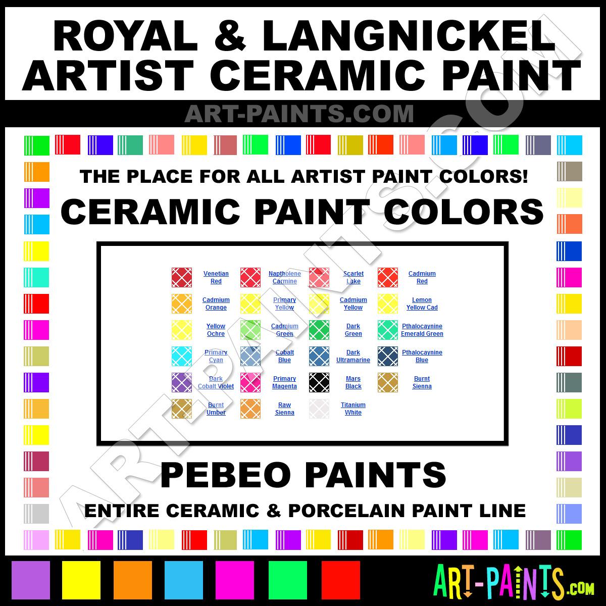 Royal And Langnickel Artist Ceramic Porcelain Paint Colors