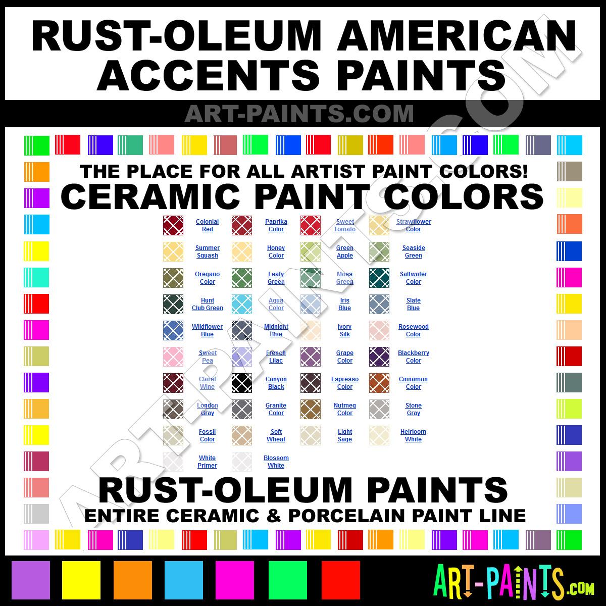 Spray paint color chart honey american accents ceramic paints