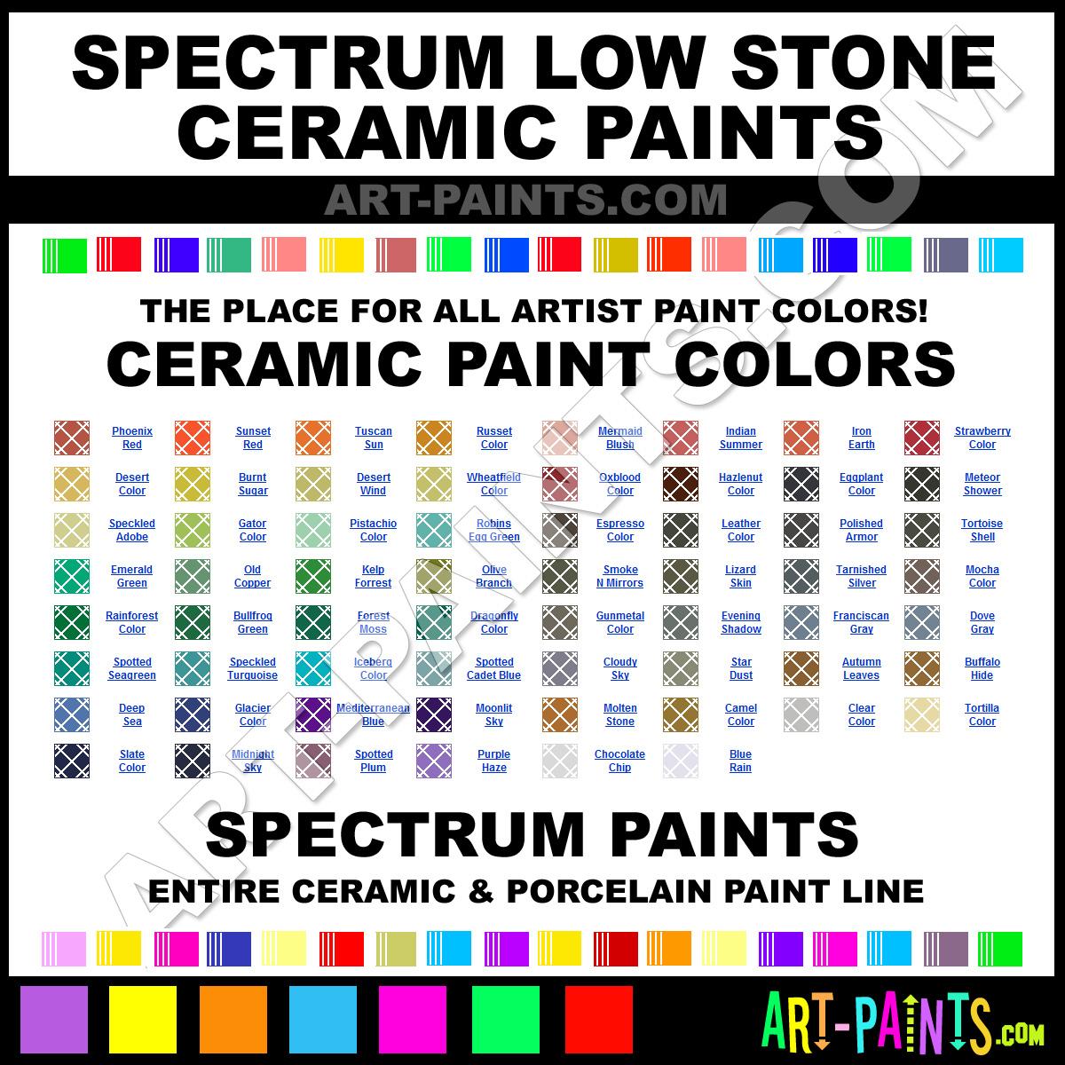 Spectrum low stone ceramic porcelain paint colors for Paint color spectrum