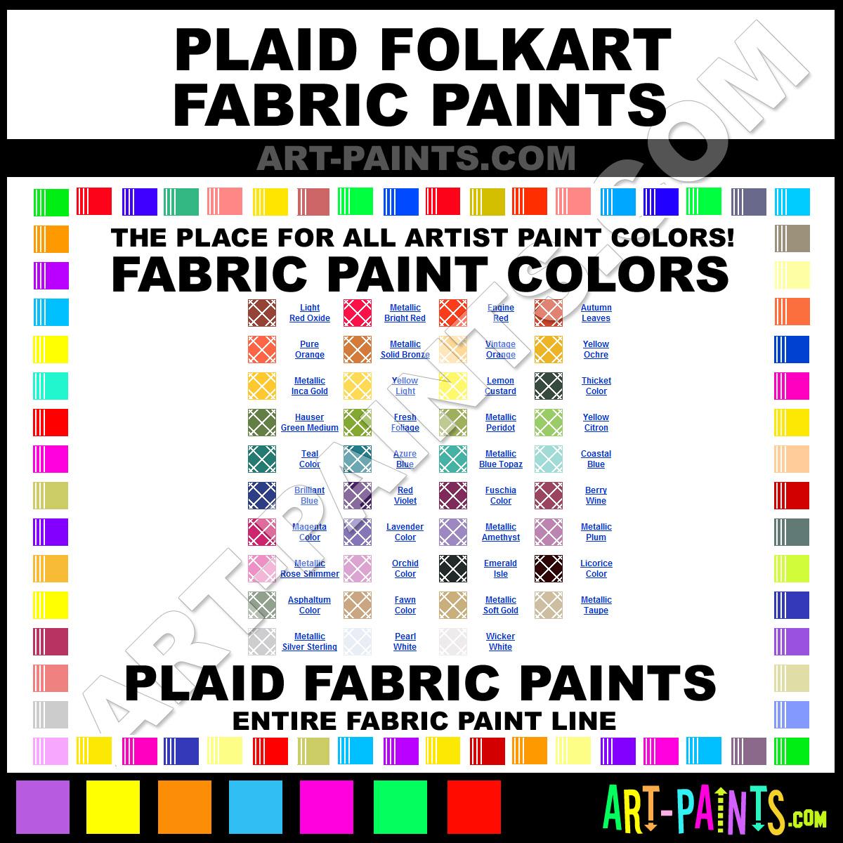 Folk art acrylic paint color chart - Plaid Fabric Textile Paints Plaid Paints