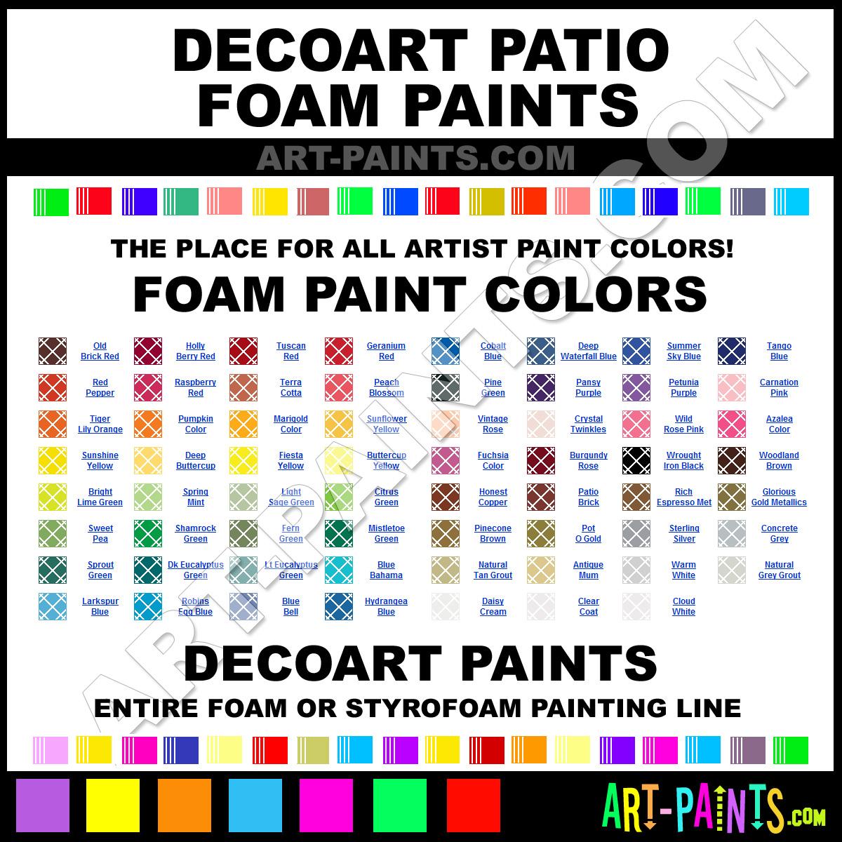 Decoart Patio Paint Foam And Styrofoam Paint Colors