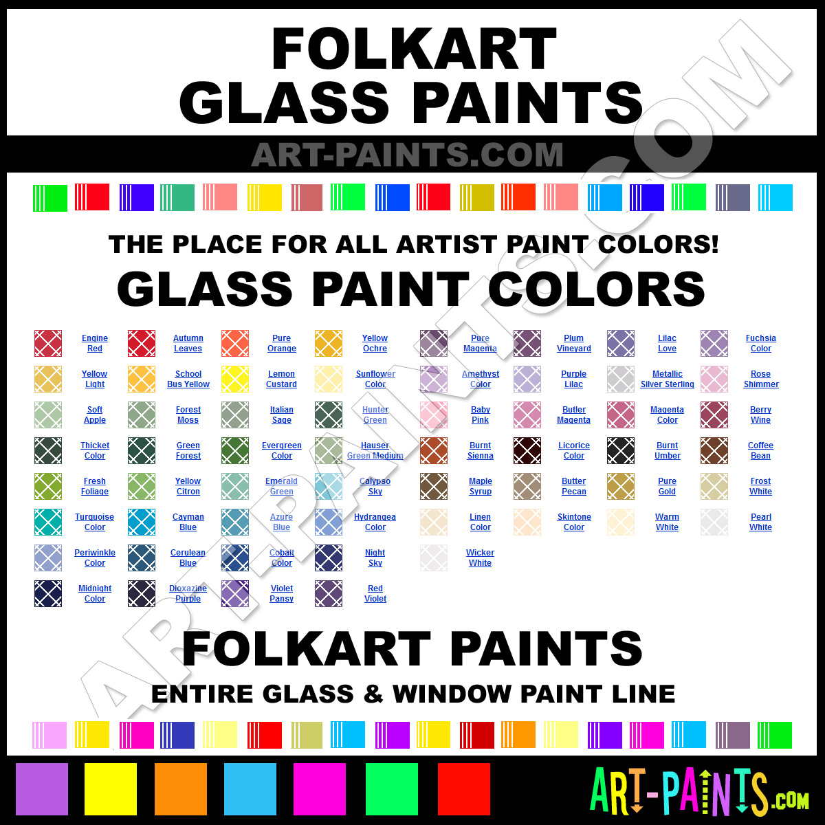 Folk art acrylic paint color chart - Folkart Glass Paints