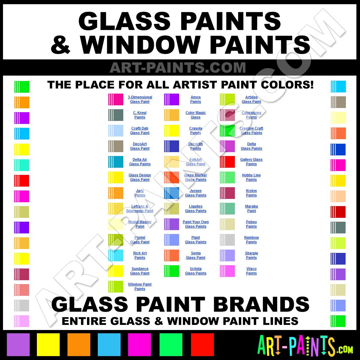 Folk art color chart acrylic paint -  Artists Glass Window Paints