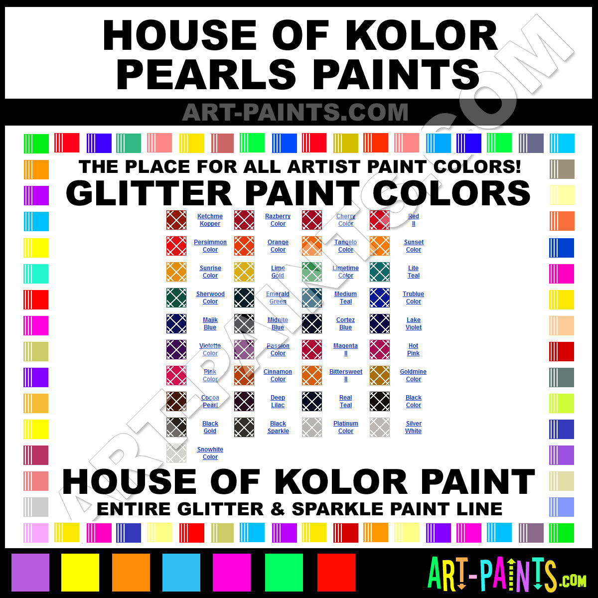 House Of Kolor Pearl Color Chart Limetime Pearls Glitter