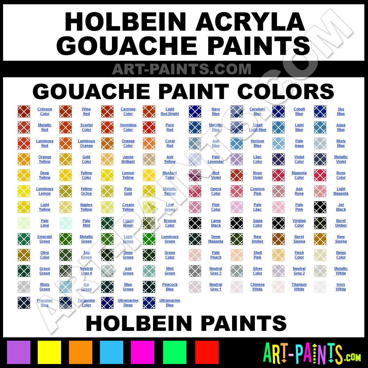 Holbein Acryla Gouache Paint Colors Holbein Acryla Paint Colors