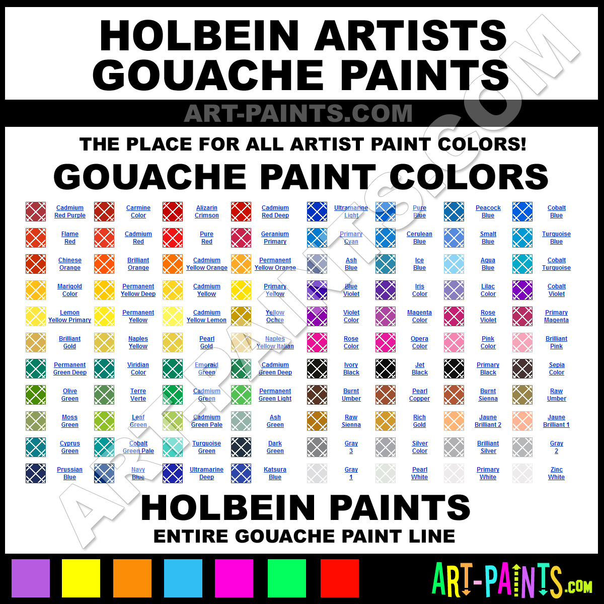 Holbein Artists Gouache Paint Colors Holbein Artists Paint Colors