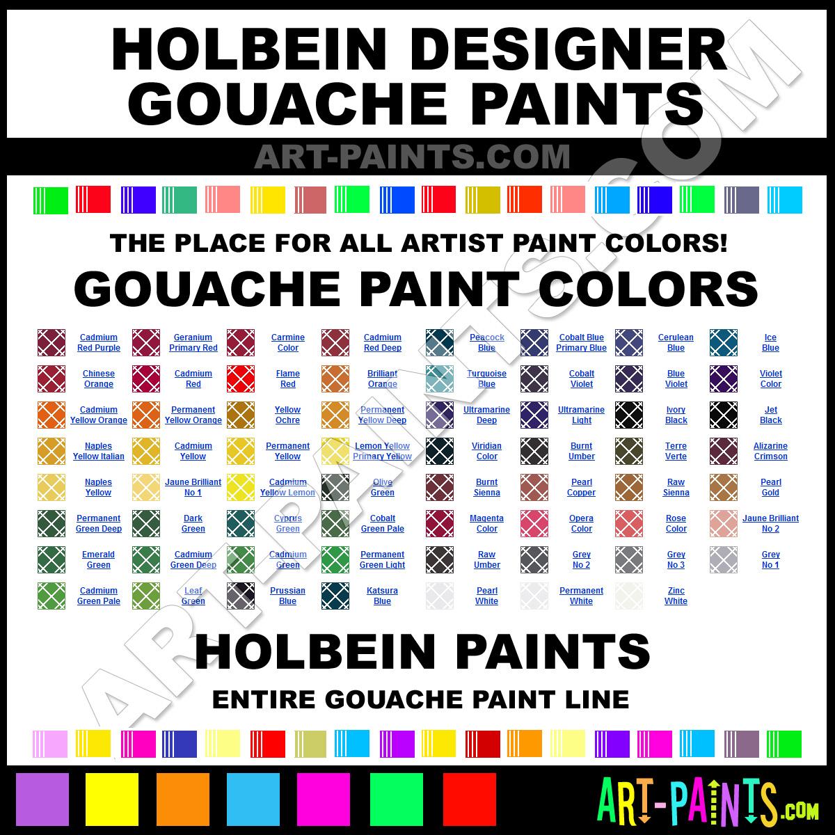 Holbein Designer Gouache Paint Colors Holbein Designer Paint