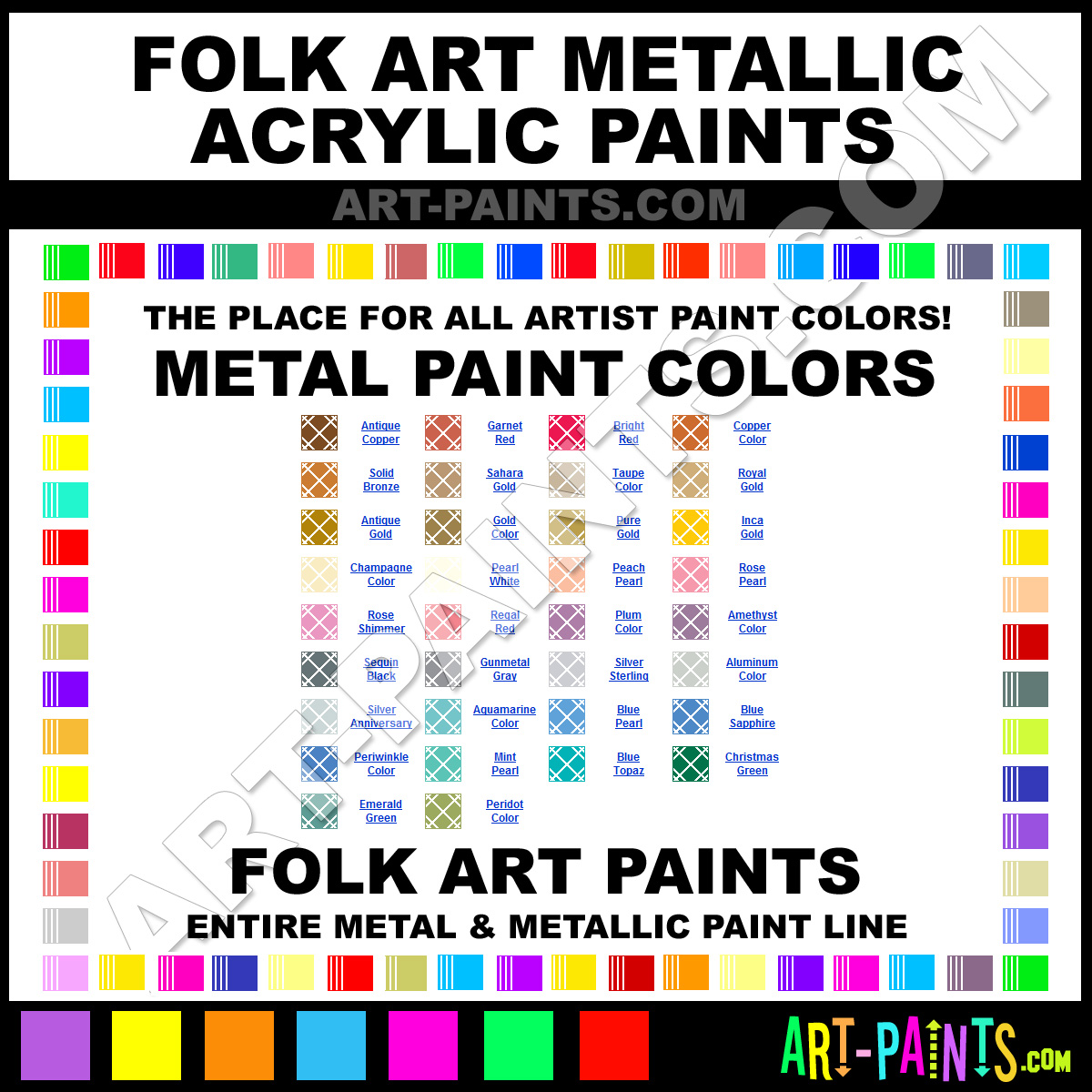 Folk art acrylic paint color chart - Folk Art Metals Folk Art Metallic Acrylic Metallic Paints