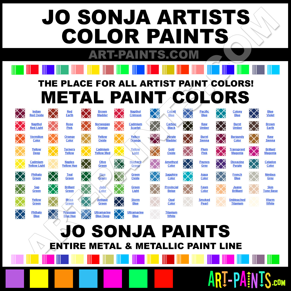 Jo Sonja Artists Colors Metal Paint Colors Metallic