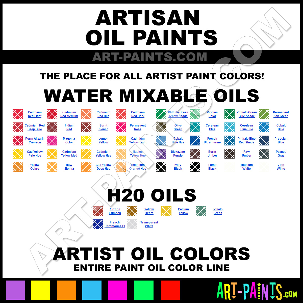 Artisan Water Mixable Oil Paint Colors Artisan Water