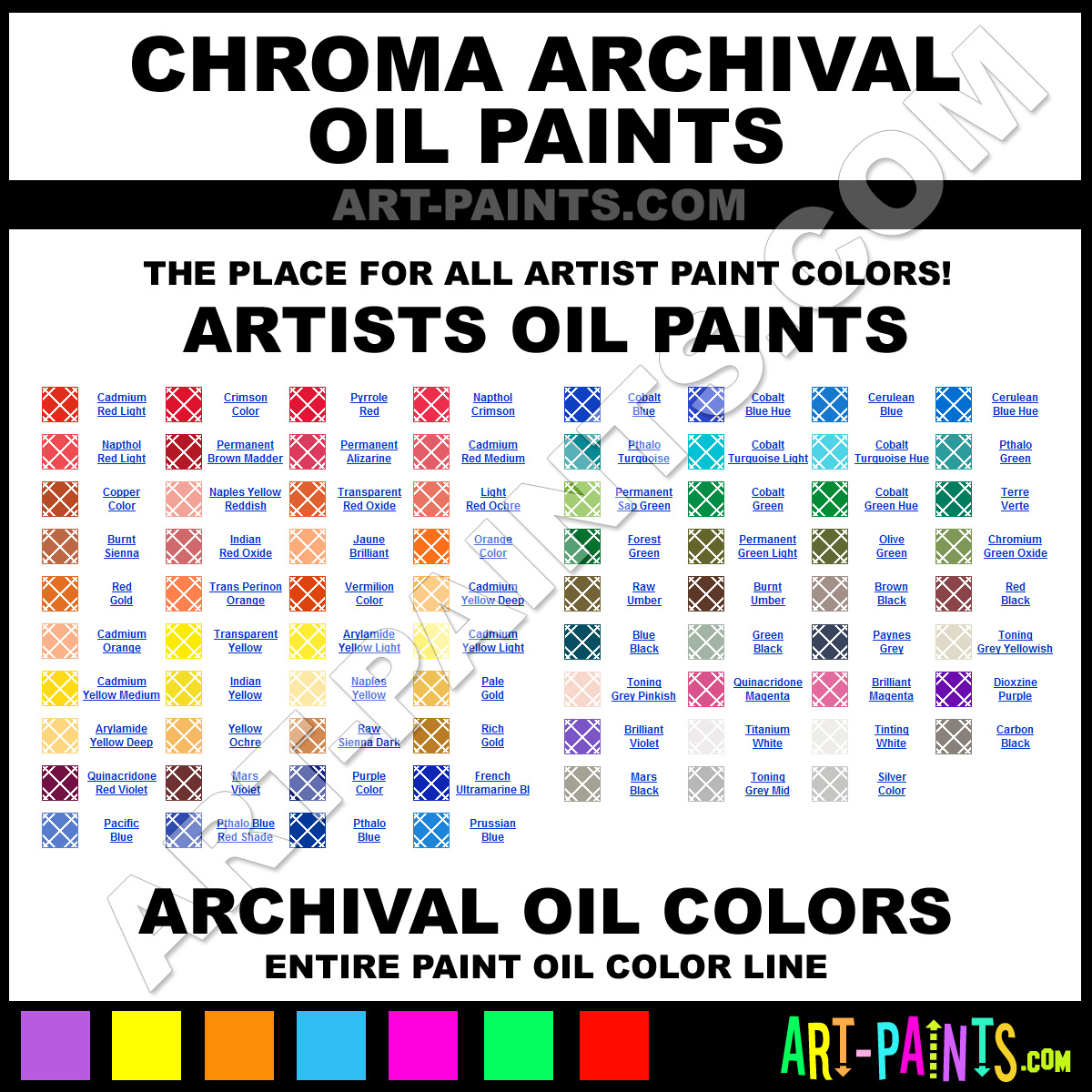 Chroma archival oil paint colors chroma archival paint for Chroma mural paint markers