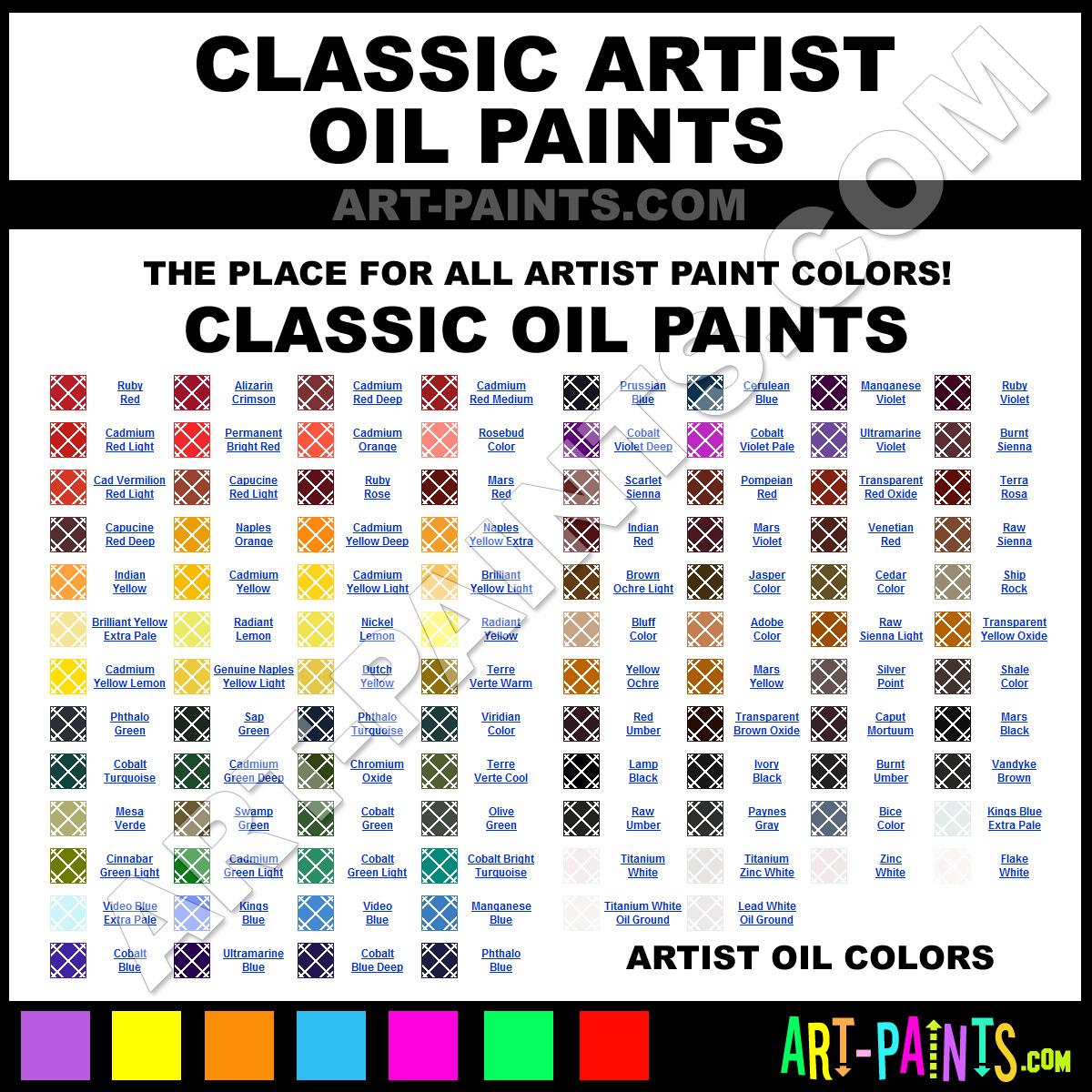 Classic Artist Oil Paint Colors Classic Artist Paint