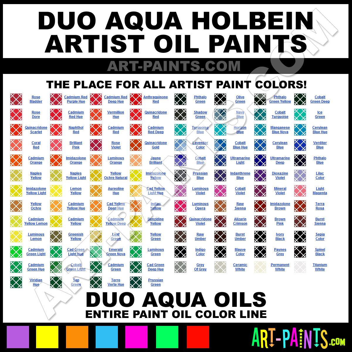 Holbein Duo Aqua Color Chart Duo Aqua Holbein Paints