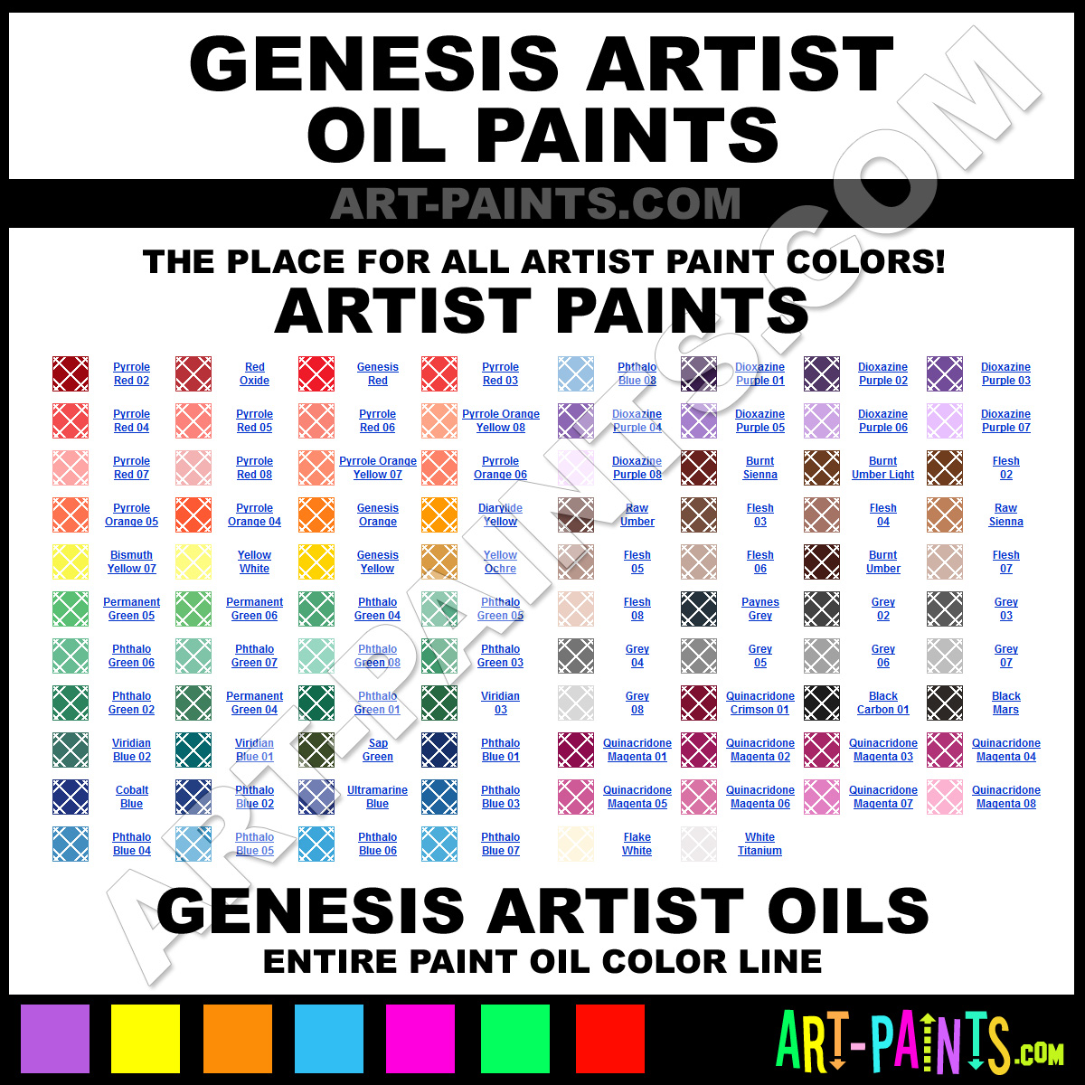 Artist Paint Colors Genesis Artist Paints