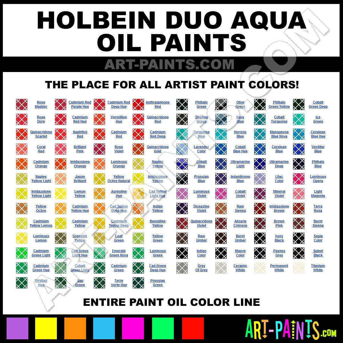 Holbein Duo Aqua Color Chart Holbein Duo Aqua