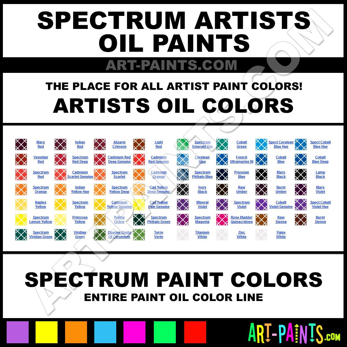 Spectrum artists oil paint colors spectrum artists paint for Paint color spectrum