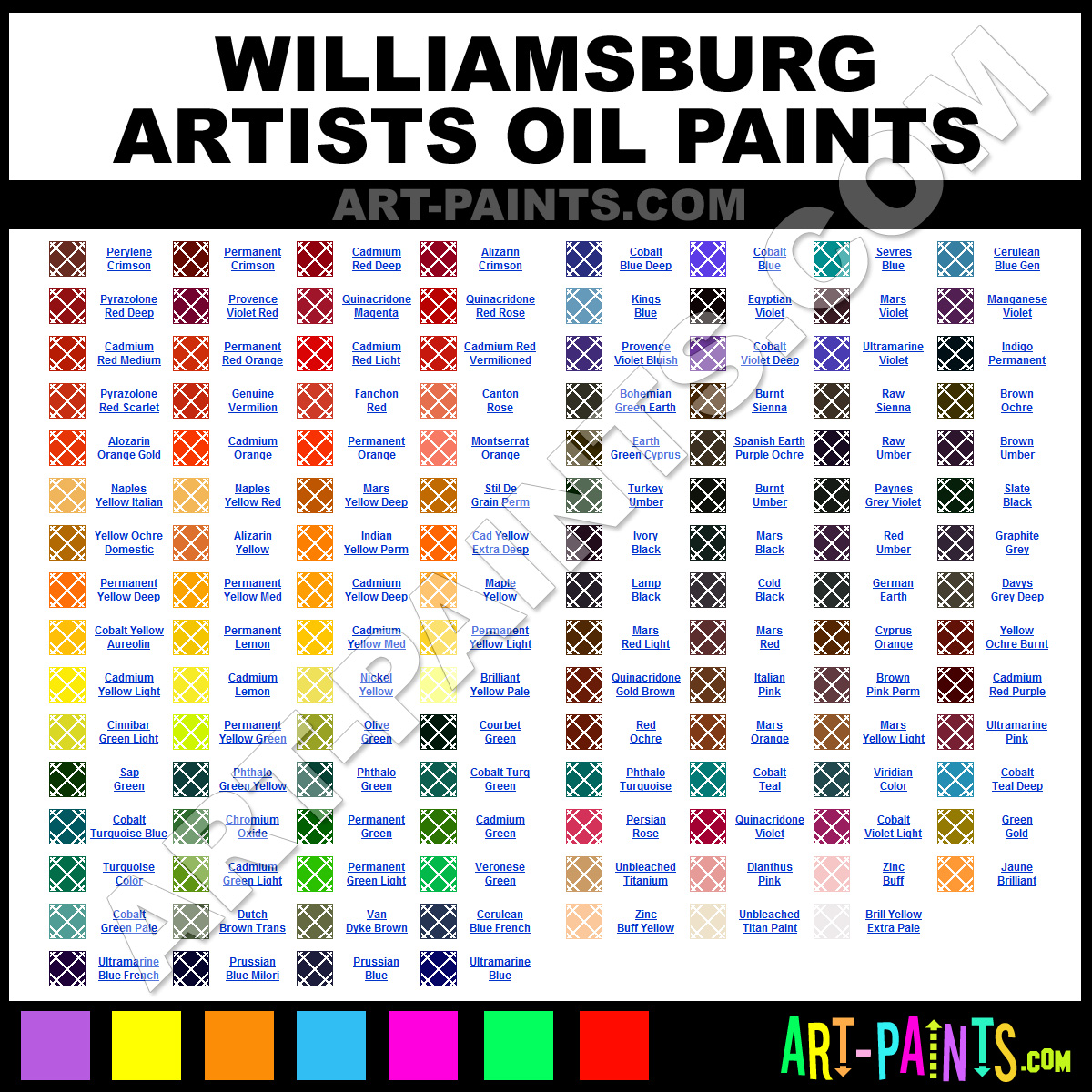 Williamsburg oil paint color chart numberedtype williamsburg oil paint color chart numberedtype nvjuhfo Image collections