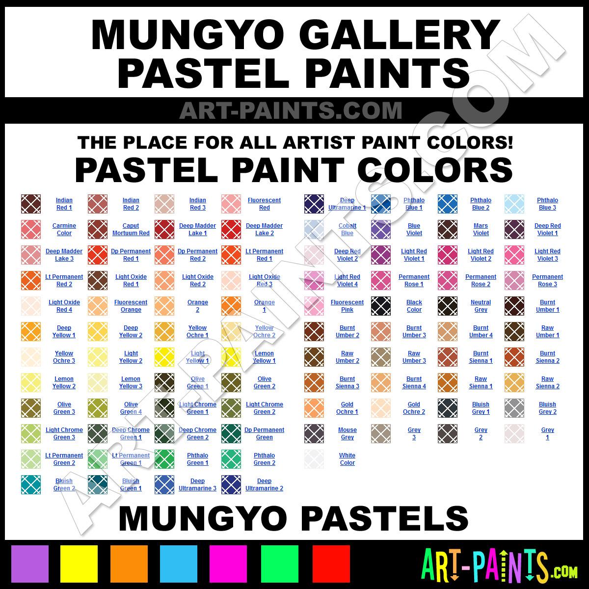 Folk art color chart acrylic paint - Mungyo Pastels Mungyo Gallery Paints