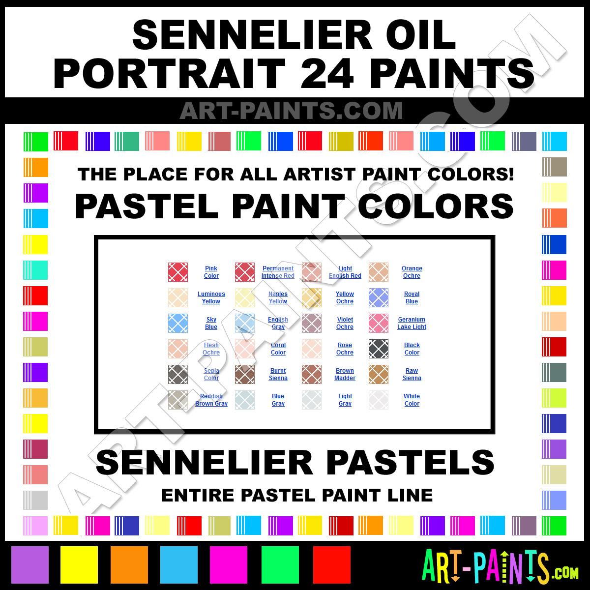 Sennelier Oil Portrait 24 Pastel Paint Colors Sennelier Oil