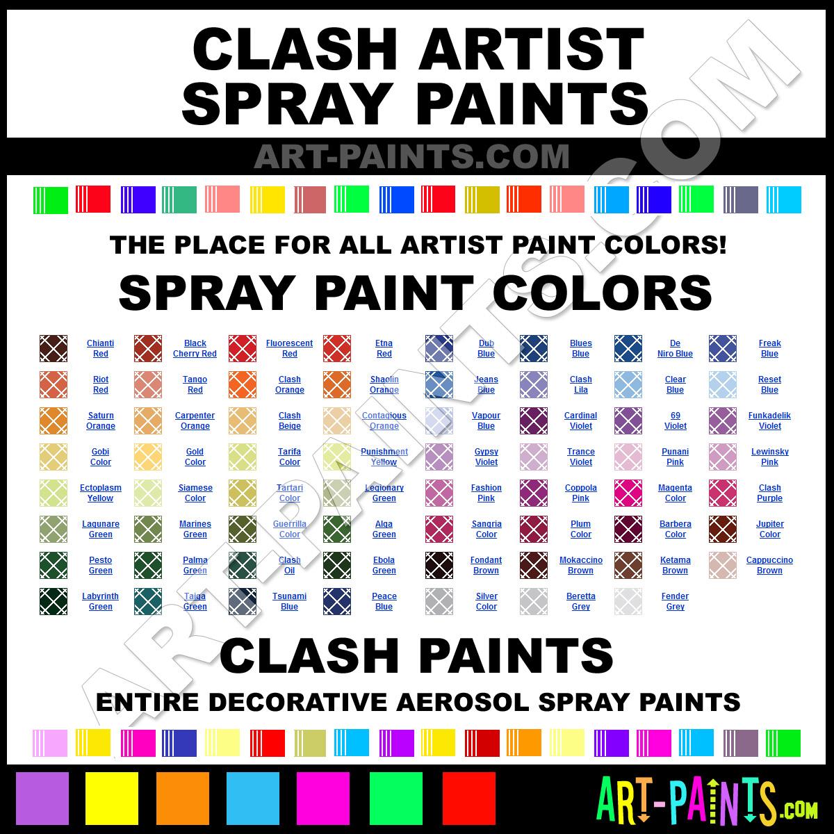 clash artist spray paint colors clash artist aerosol