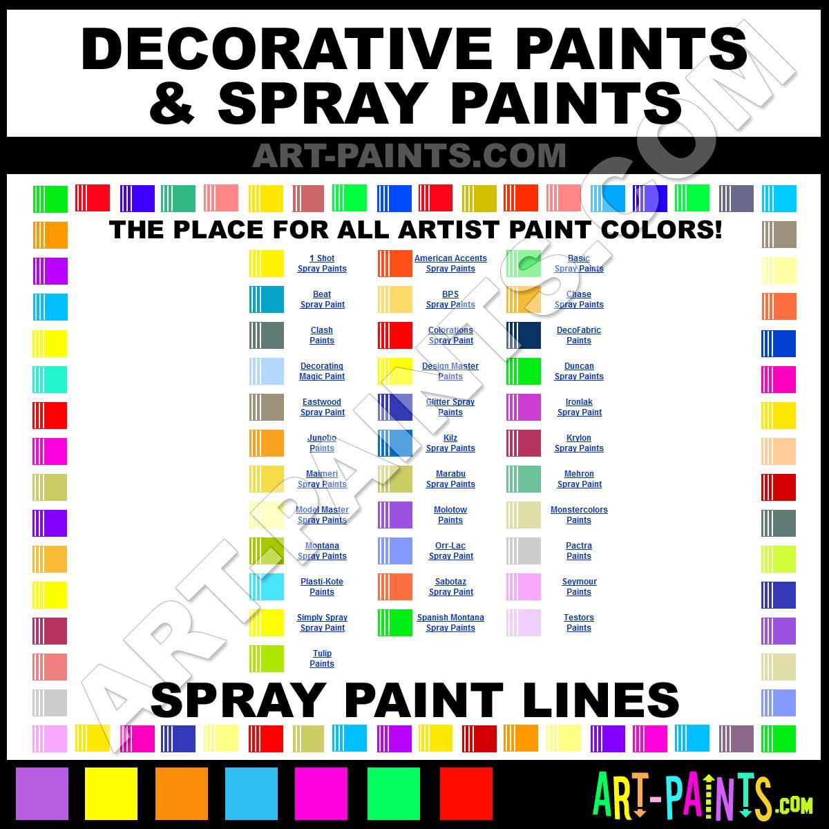 Paint Colors And Brands: Spray Paints & Aerosol, Decorative, Graffiti Art Paints