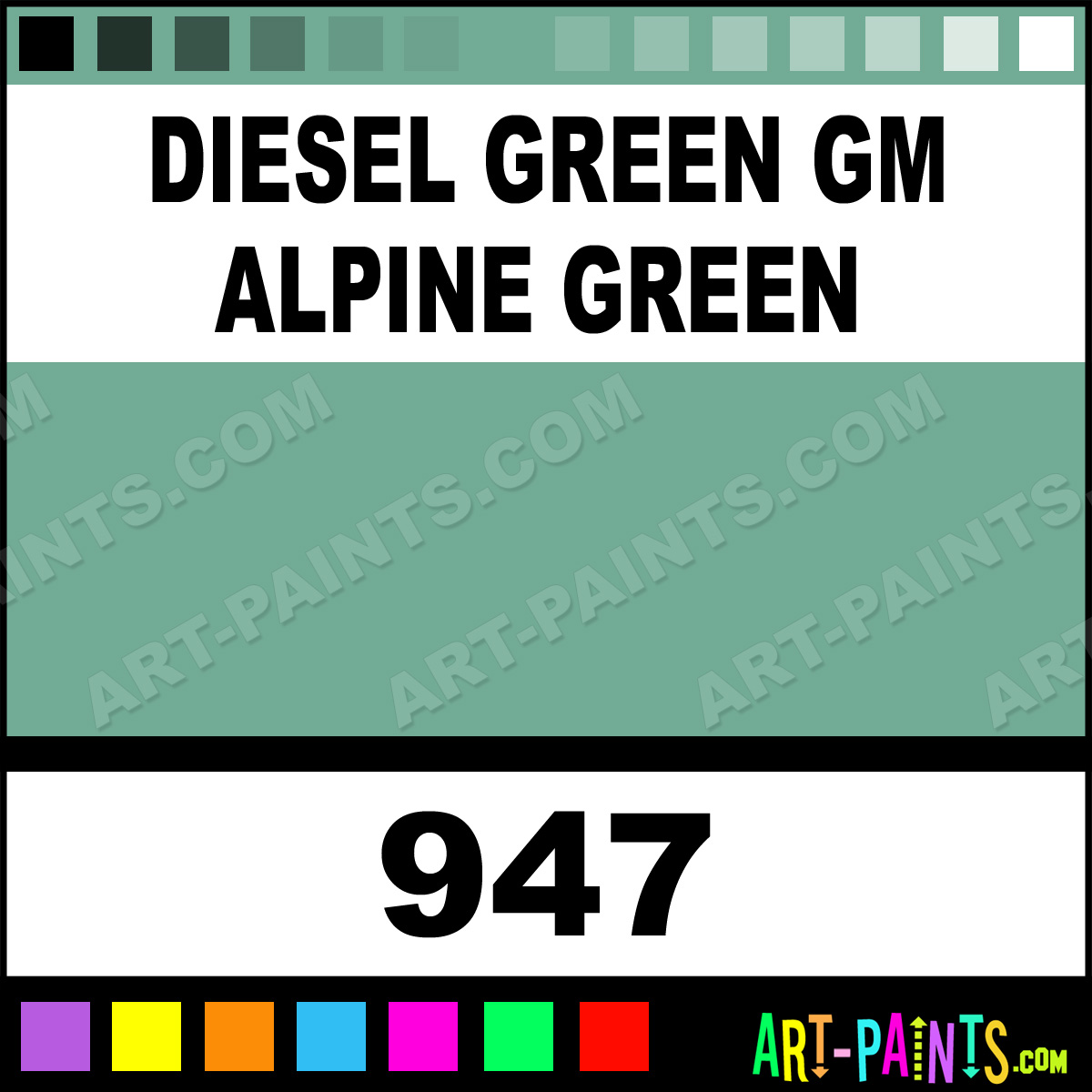 Sel Green Gm Alpine Engine Coatings Spray Paints 947 Paint Color Orr Lac