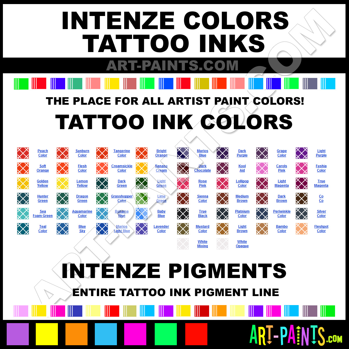 Cherry bomb colors tattoo ink paints incb1 cherry bomb for Tattoo ink color chart