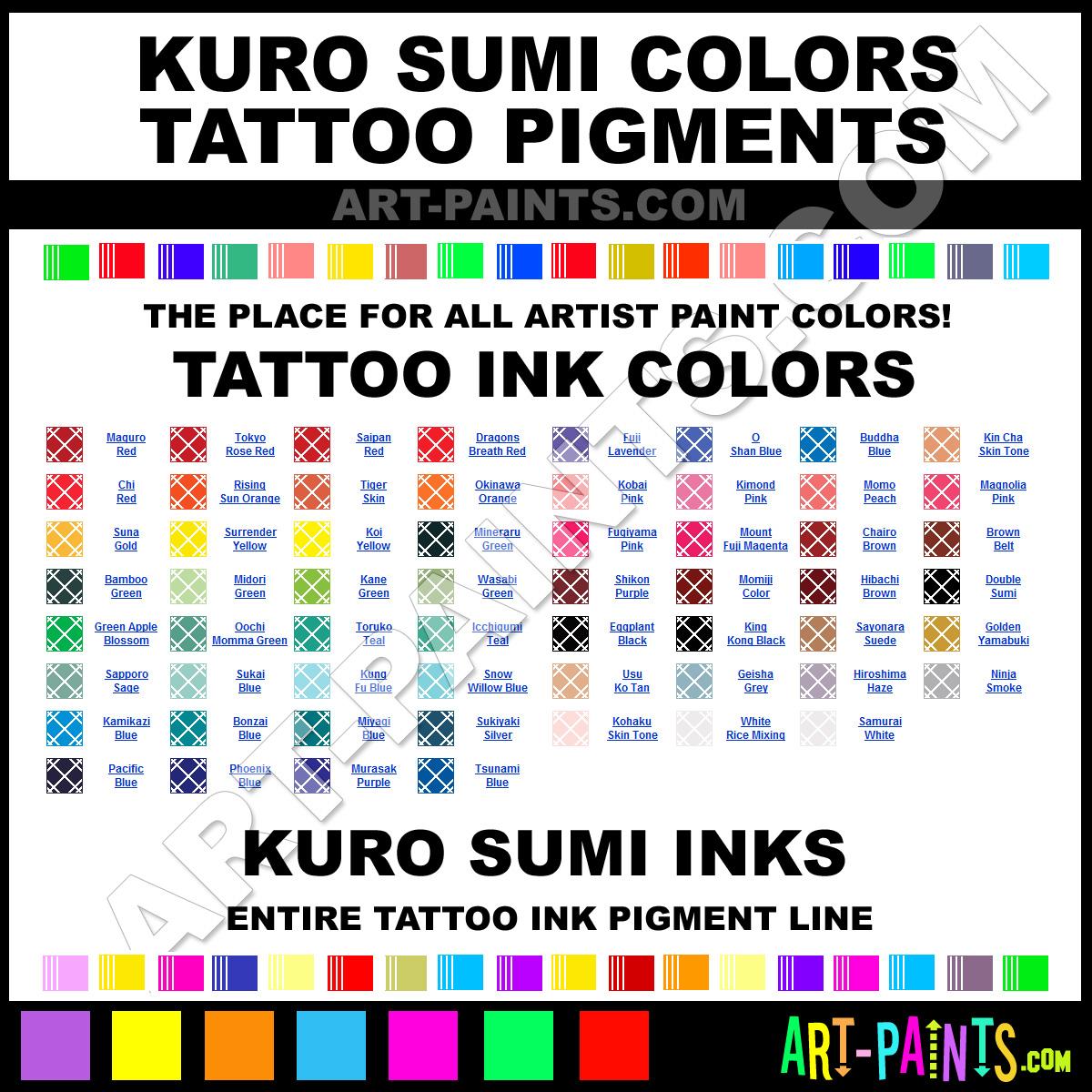 Kuro Sumi Colors Tattoo Ink Pigment Paint Colors Kuro